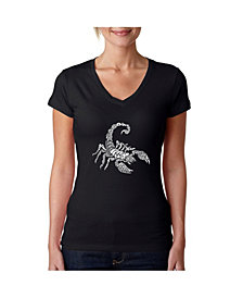 LA Pop Art Women's Word Art V-Neck T-Shirt - Types of Scorpions