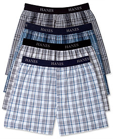Hanes Men's Platinum FreshIQ™ Underwear, Elastic Waistband Plaid Woven Boxer 4 Pack