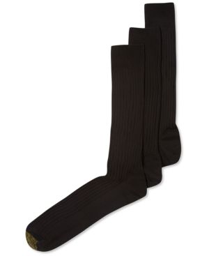 GOLD TOE Adc Canterbury 3 Pack Crew Extended Size Dress Men'S Socks in Navy