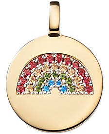 Swarovski Zirconia Reversible Rainbow Charm Pendant in 14k Gold-Plated Sterling Silver