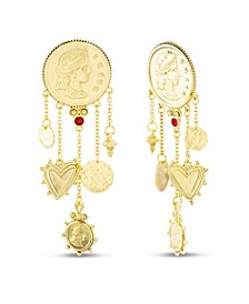 Figure Coin Dangle Post Earring in Yellow Goldtone Alloy