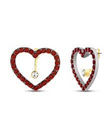 Rhinestone Heart Front to Back Earring in Yellow Goldtone Alloy