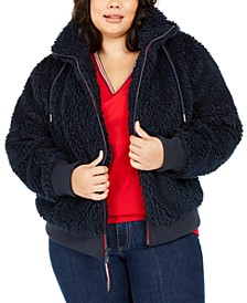 Plus Size Fuzzy Logo Hoodie, Created For Macy's