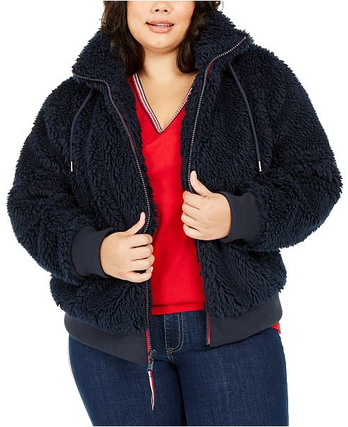 Tommy Hilfiger Plus Size Fuzzy Logo Hoodie, Created For Macy's