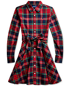 Polo Ralph Lauren Big Girl's Plaid Cotton Shirtdress