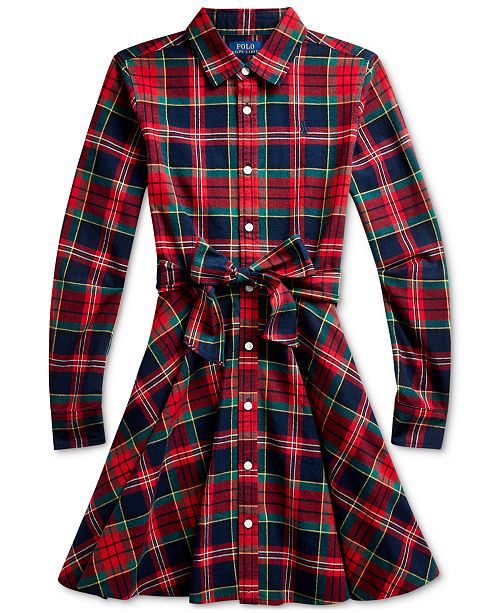 Polo Ralph Lauren Big Girl's Plaid Cotton Shirtdress