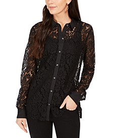 Petite Lace Button-Up Shirt, Created For Macy's