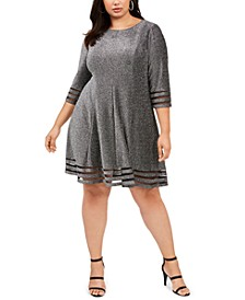 Plus Size Metallic Illusion-Stripe Dress