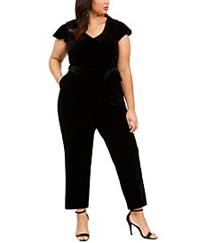 Plus Size Velvet Belted Jumpsuit