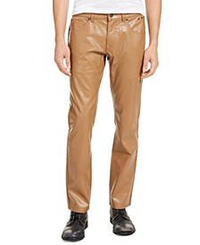 INC Men's Slim Straight Pleather Pants, Created for Macy's