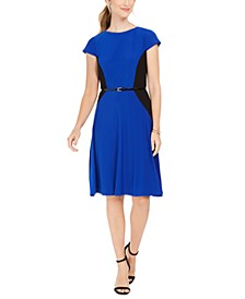 Petite Belted Colorblocked Fit & Flare Dress