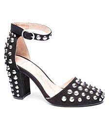 Vegas Block Heel Studded Pumps