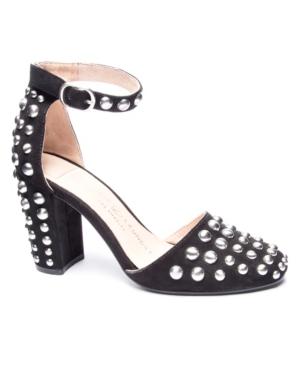 Vegas Block Heel Studded Pumps Women's Shoes