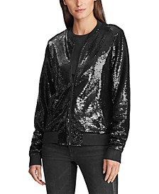 Petite Sequined Bomber