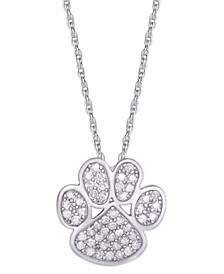 Diamond 1/4 ct. t.w. Paw Print Pendant Necklace in Sterling Silver