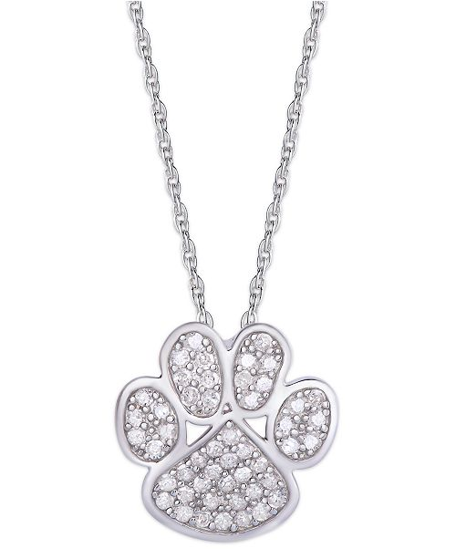 Macy's Diamond 1/4 ct. t.w. Paw Print Pendant Necklace in Sterling Silver