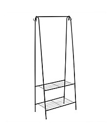 HDS Trading 2 Shelf Free-Standing Garment Rack with Hooks