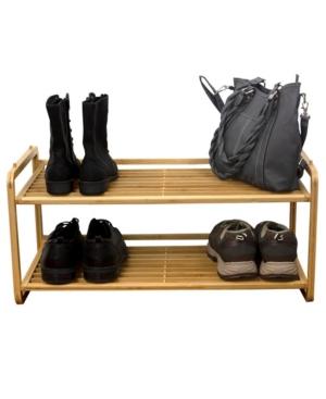 Hds Trading 2 Tier Slatted Shelf Bamboo Shoe Rack