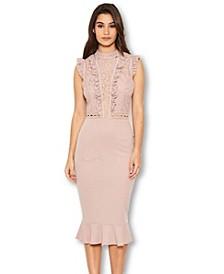 Lace Ruffle Hem and Sleeve Dress