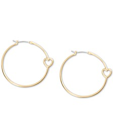 Medium Gold-Tone Open-Heart Hoop Earrings 1-2/5""