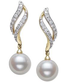 Cultured Freshwater Pearl (8mm) & Diamond (1/3 ct. t.w.) Drop Earrings in 14k Gold
