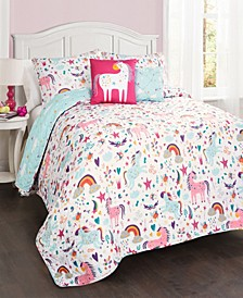 Unicorn Heart Reversible 4-Piece Twin Quilt Set