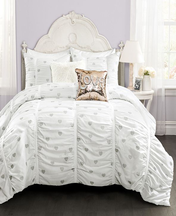 Lush Decor Metallic Heart Print 3-Piece Full/Queen Comforter Set