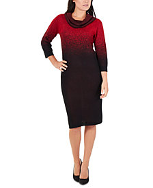 NY Collection Petite Ombré Cowlneck Sweater Dress