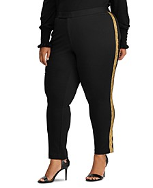 Plus Size Metallic-Trim Ponte Pants