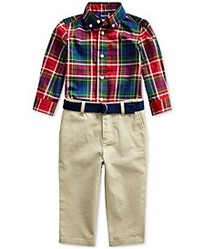 Baby Boys Plaid Shirt & Belted Chino Set