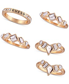 Gold-Tone 5-Pc. Set Crystal Stack Rings