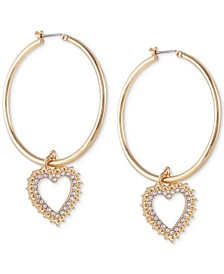 Extra Large Gold-Tone Pavé Heart Charm Hoop Earrings 3-1/4""