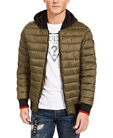 Men's Quilted Bomber with Jersey Hood