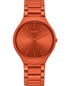 Unisex Swiss True Thinline Les Couleurs Le Corbusier Red High-Tech Ceramic Bracelet Watch 39mm