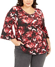 Plus Size Printed Stud-Trim 3/4-Sleeve Top