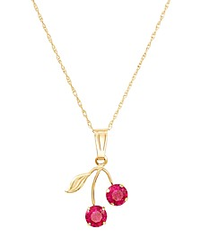 "Created Ruby (2 ct. t.w.) Leaf Pendant On 18"" Rope Chain in 10k Yellow Gold"