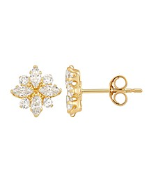 Swarovski Crystal(1-5/8 ct. t.w.)Flower Cluster Stud Earrings in 14k Yellow Gold
