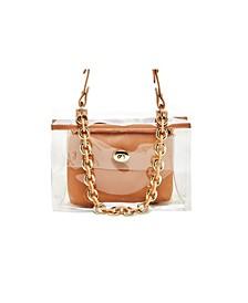 Clear Chain Embellished Shoulder Bag