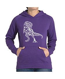 LA Pop Art Women's Word Art Hooded Sweatshirt -Dino Pics