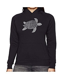 Women's Word Art Hooded Sweatshirt -Turtle