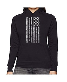 Women's Word Art Hooded Sweatshirt -National Anthem Flag