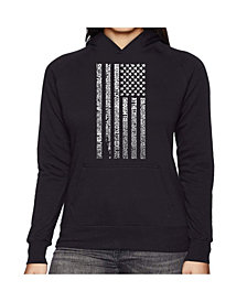 LA Pop Art Women's Word Art Hooded Sweatshirt -National Anthem Flag