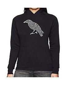LA Pop Art Women's Word Art Hooded Sweatshirt -Edgar Allen Poe's The Raven