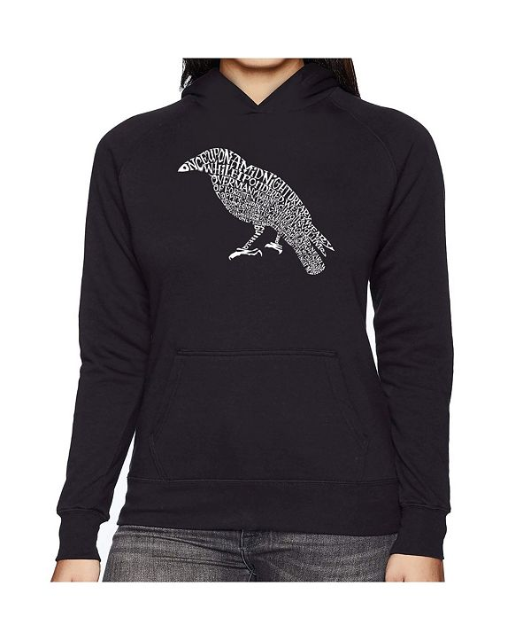 LA Pop Art Women's Word Art Hooded Sweatshirt -Edgar Allen Poe's The Raven