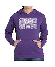 LA Pop Art Women's Word Art Hooded Sweatshirt - Brooklyn Bridge