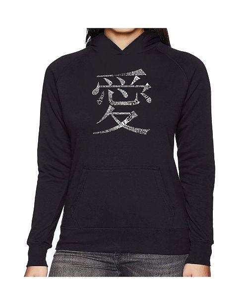 LA Pop Art Women's Word Art Hooded Sweatshirt -The Word Love In 44 Languages