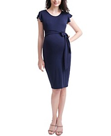 Luclle Maternity Ruffle Sleeve Body Con Dress