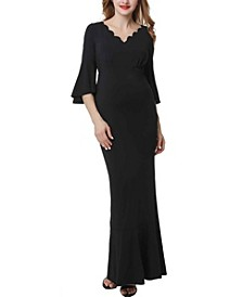 Maisie Maternity Scalloped V-Neck Mermaid Maxi Dress