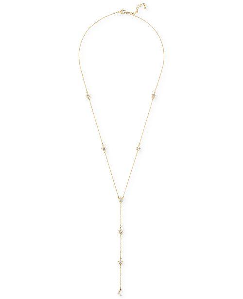 """RACHEL Rachel Roy Gold-Tone Crystal Star Lariat Necklace, 24"""" + 2"""" extender"""