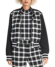 Plaid Zip Bomber Jacket